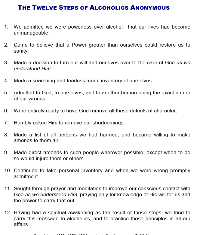 The Twelve Steps from Alcoholics Anonymous