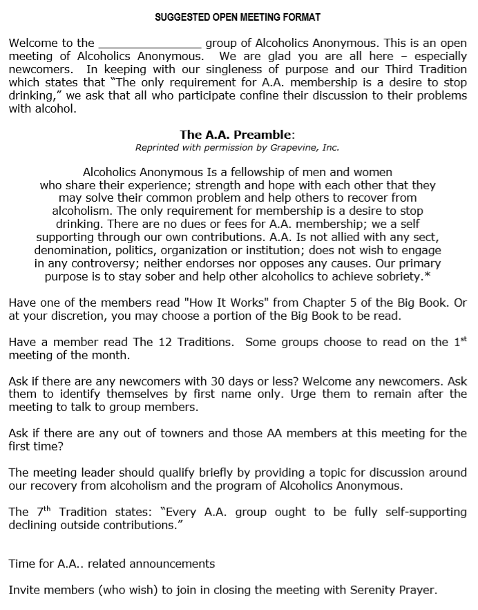 The Preamble from Alcoholics Anonymous Meetings